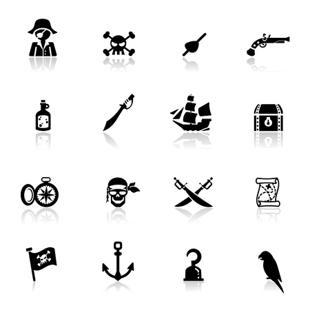 human chest: Icons set pirates simplified