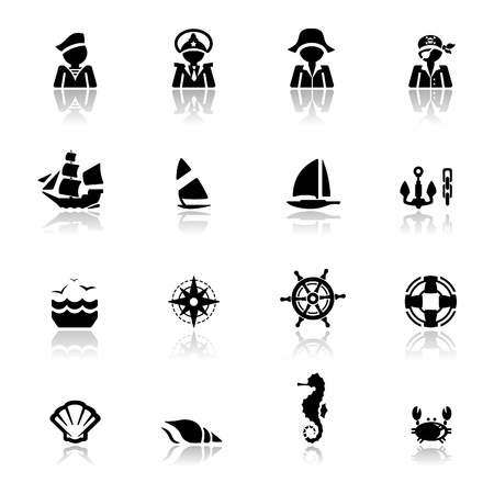 yacht isolated: Icons set n�uticas