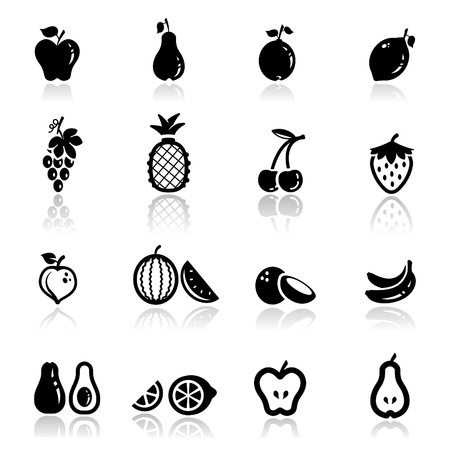 pineapples: Icons set frutos Vectores