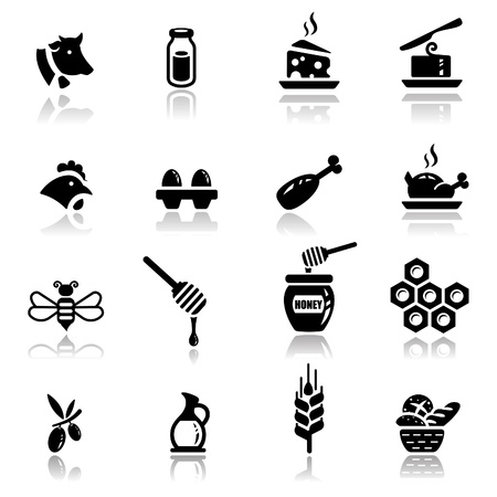 bread and butter: Icons set Dairy and natural products Illustration
