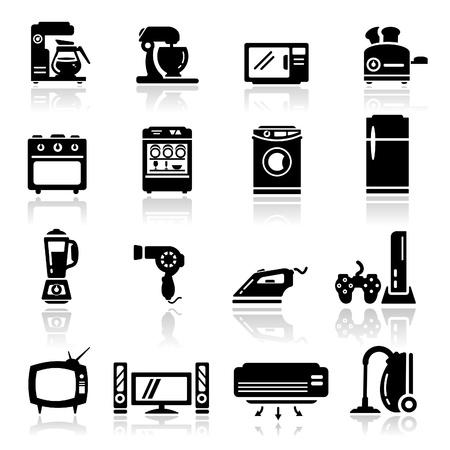 casa: Icone set elettrodomestici Vettoriali