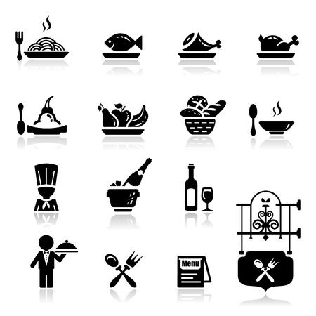 spaghetti: Pictogrammen set restaurant Stock Illustratie