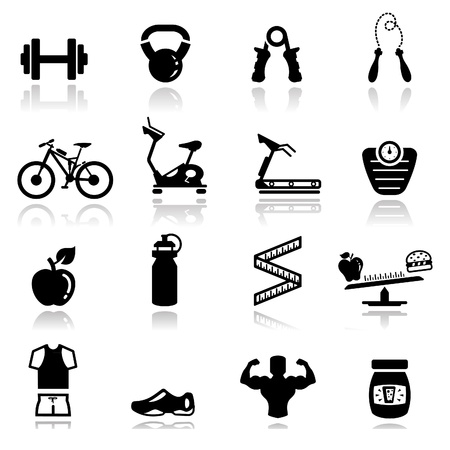 weights: Icone set fitness Vettoriali