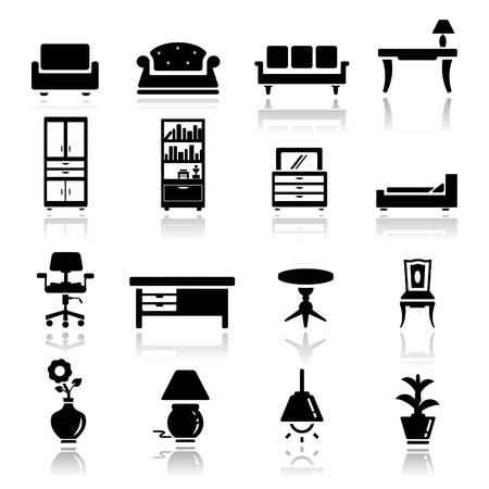 cajones: Icons set muebles Vectores