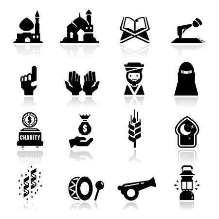 manos orando: Icons set Ramadán