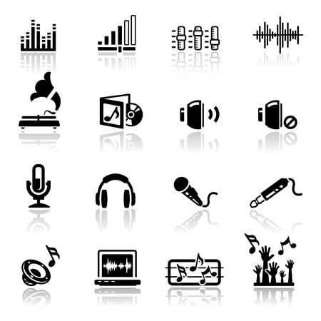 Icons set sound and audio Stock Vector - 10035565