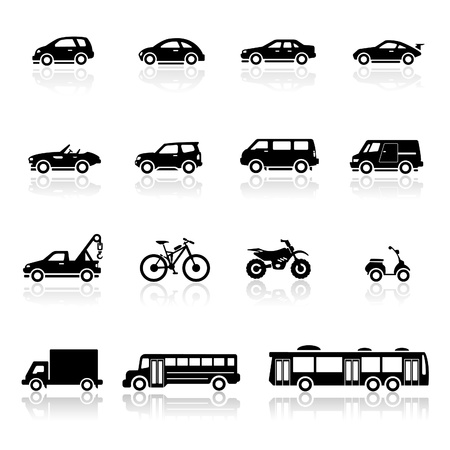 autobus escolar: Icons set vhicles