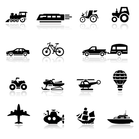 old tractor: Icons set vervoer