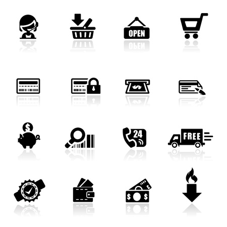 woman credit card: Icons set shoppin Illustration