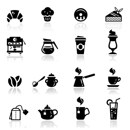 cups silhouette: Icons set Cafe