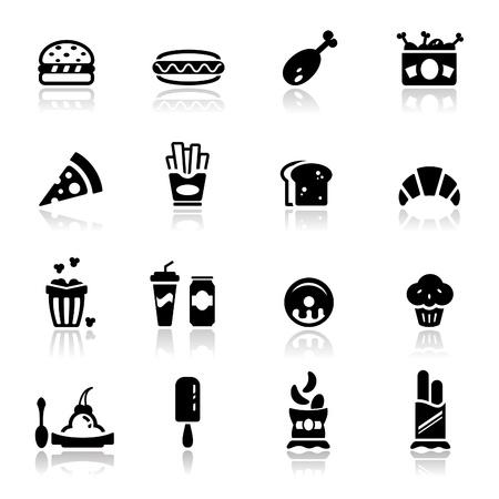 palomitas: Icons set comida basura Vectores