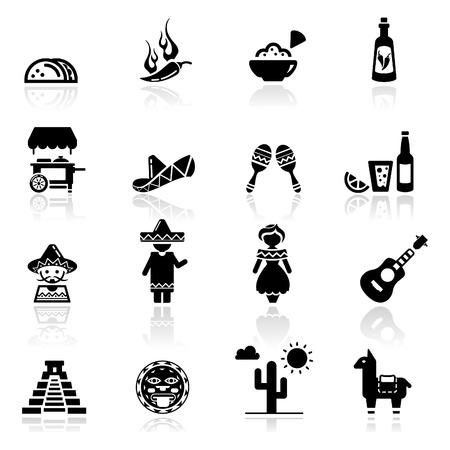 Icons set Mexican cuisine and culture Vector