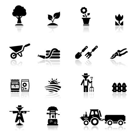 mangera: Icons set jardinería y agricultura Vectores
