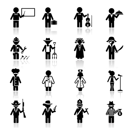 musician silhouette: Icons set occupation