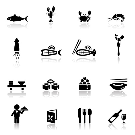 sushi: Icons set zee voedsel Stock Illustratie