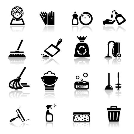 pictogrammen instellen schoonmaken Vector Illustratie