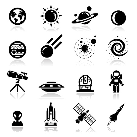 Icons set space Ilustrace