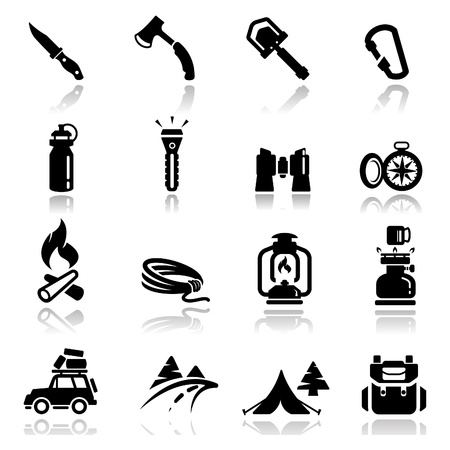 палатка: Набор иконок кемпинга