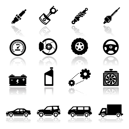 shock absorber: Icons set Auto parts