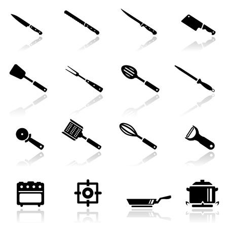 sacapuntas: Icons set utensilio de cocina Vectores