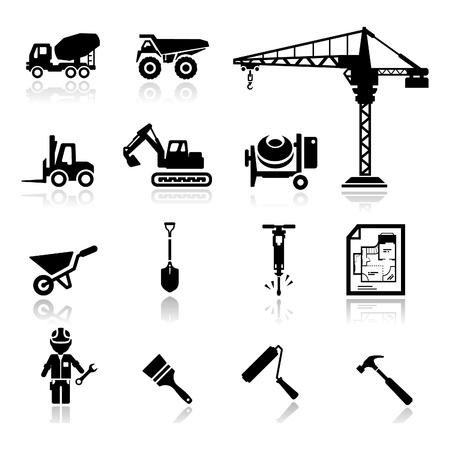 camion grua: Icons set construcción