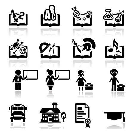 teacher: Icons set education Illustration