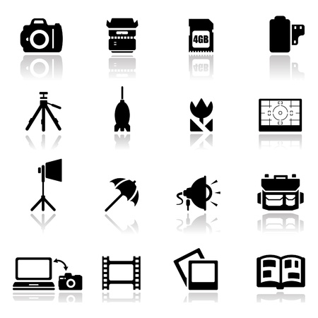 photo equipment: Icons set photography