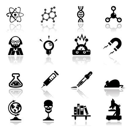uitvinder: Pictogrammen instellen wetenschap en onderzoek Stock Illustratie