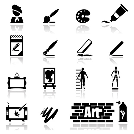 Icons set arts Illustration