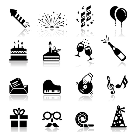 Icons set celebration and holiday Vector
