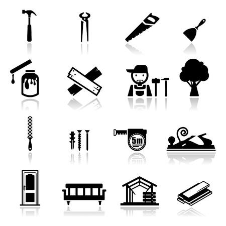 Iconos conjunto de carpintería Ilustración de vector
