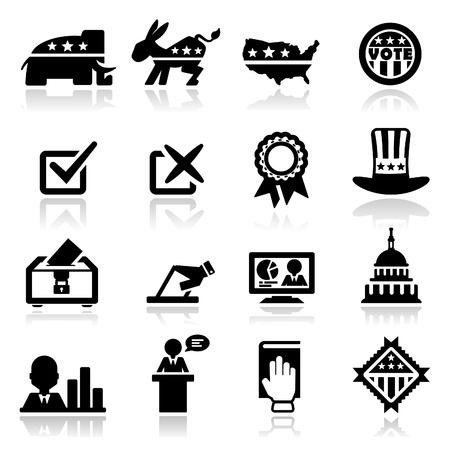 verkiezingen: Pictogrammen instellen Verkiezing Stock Illustratie