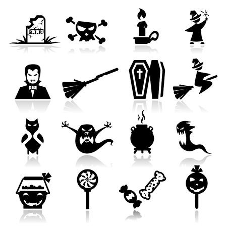 escoba: Conjunto de iconos de Halloween Vectores