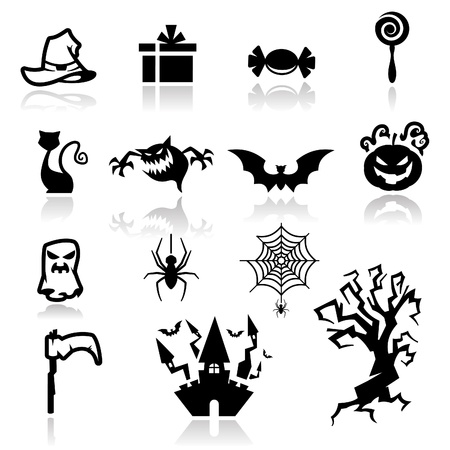 flying hat: Icons set Halloween two Illustration