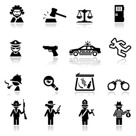 Icônes loi et les juges mis Vecteurs