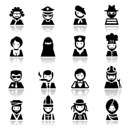 jews: Icons set People faces Illustration