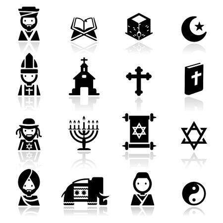 hindues: Conjunto de iconos de las religiones Vectores