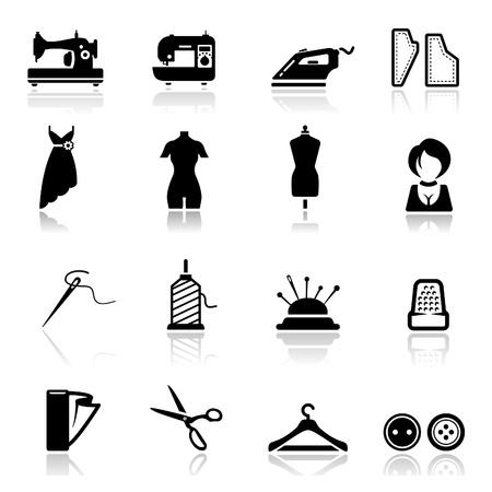 Zestaw ikon do szycia i moda