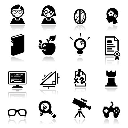 smart girl: Icons set Nerds Illustration