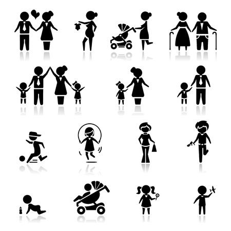 toddler playing: Icons set people and family Illustration