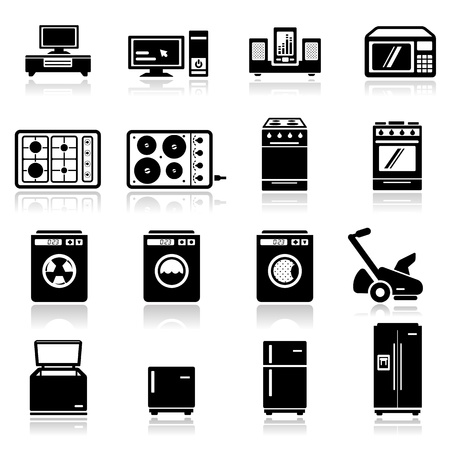 black appliances: Icons set home appliances two Illustration