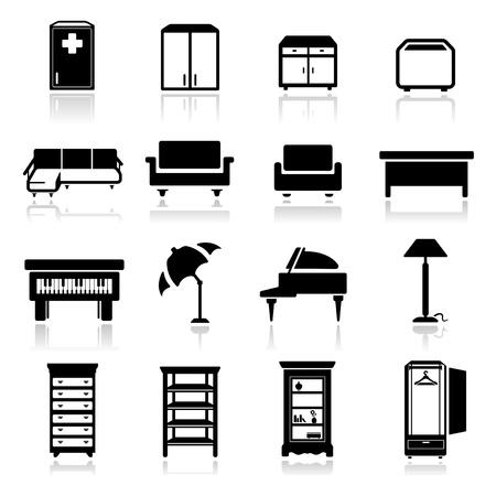 escabeau: Icons set mobilier classique