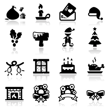 lamp silhouette: Icons set Christmas two