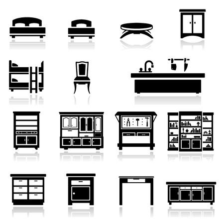 cama: Los iconos de sistema de los muebles dos Vectores