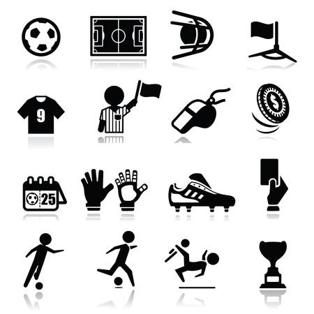Iconos conjunto de fútbol Ilustración de vector