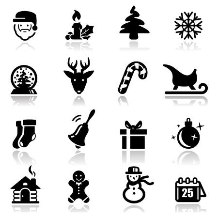deer head: Icons set Christmas