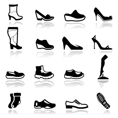 wearing slippers: Icons set Footwear Illustration