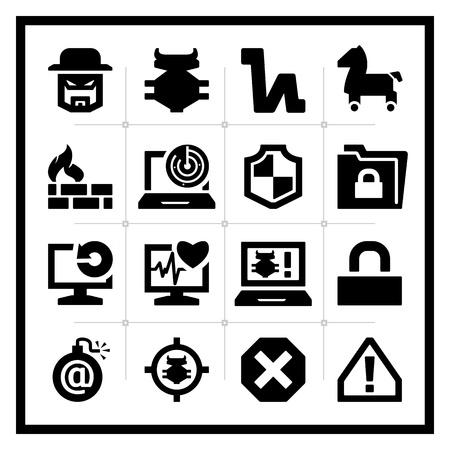 virus informatico: Los iconos de seguridad conjunto - plaza de la serie Vectores