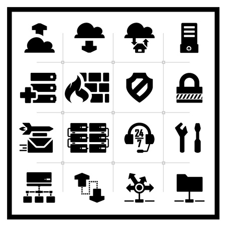 network server: Icons set hosting - square series