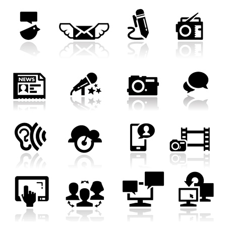 news icon:  Icons set communication Illustration